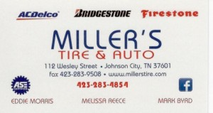 Miller's Tire & Auto - Business Card